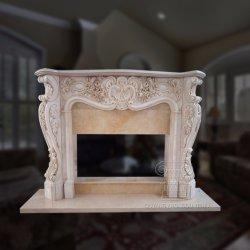Гранитные дома оформление Карвинг мраморный камин каменные статуи Mantel свечи предпускового подогрева