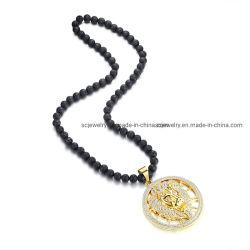 Cordões artesanais Mens corrente de cabeça de leão Colar Pendente para homens e mulheres