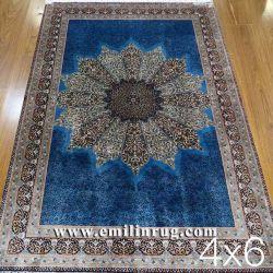 بساط الحرير من ميداليليون السجاد الفارسي اليدوي الصنع للبيع 4FT X 6 أقدام