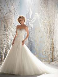Cordón en la correa del arqueamiento del vestido nupcial del halter de Tulle Wedding la alineada nupcial