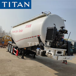 Titan 40 toneladas de harina de cemento Bulker Tri-Axle Silo con compresor Trailer camiones cisterna de cemento para la venta
