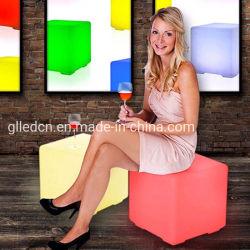 D50cm PET Tisch-Licht-Würfel-Stuhl des materiellen nachladbaren 16 Farben-LED quadratischen Würfel-Sitzstuhl-Schemel-wasserdichter LED für Verkauf