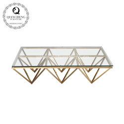 호화스러운 금속 스테인리스 다리 유리제 커피용 탁자는 현대이라고 놓는다