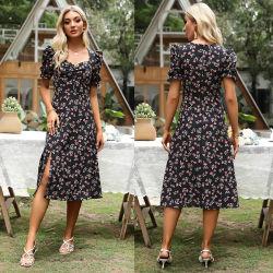 High Quality Women Casual Floral Print Summer Dress met korte mouw
