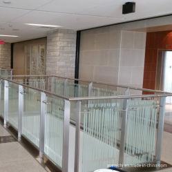 Balaustri di vetro dell'acciaio inossidabile di aste della ringhiera dell'asso dell'inferriata di vetro dell'interno moderna della scala