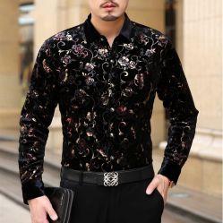 Cómoda camiseta de los hombres visten camisetas de flores flores impresas Casual Camisa de seda
