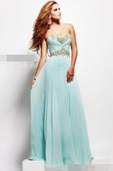 Luz azul Vestido de festa de casamento Sweetheart Cordão noite vestidos Prom Bridesmaid Chiffon vestido de Noite