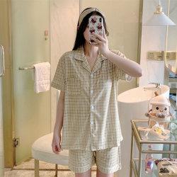 النساء من القطن الطباعة Pajamas يضع القمم القصيرة والقميص القصير