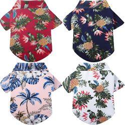 4피스 Dog Hawaiian 셔츠 Puppy 티셔츠 티셔츠 티셔츠 티셔츠 티셔츠 티셔츠 티셔츠 해변 애완용 복장 통풍성 애완용 여름 셔츠 강아지 해변 쇼트 소형 및 대형 슬리브용 의류