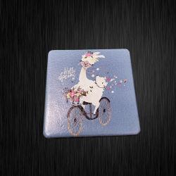 DIY портативный складной компактный металлический провод фиолетового цвета в кармане Сублимация пустым косметические зеркала заднего вида