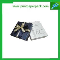 注文の堅いペーパー箱技術のキャンデーのギフトの包装パステル調のリネンの弓タイの宝石類のパッキング箱