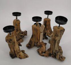 Suporte para velas de raiz de madeira rústica Artes e Ofícios de madeira para decoração
