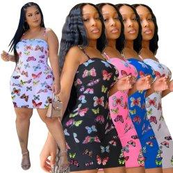 Impresión de la mariposa de la moda sexy vestidos de damas Backless hermoso vestido vestido de noche la mujer
