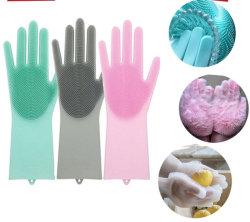 Wiederverwendbarer Spülspülmaschinenreiniger Magic Silikon Handschuhe Bürstenschrubber