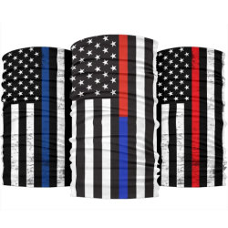 Unisex Bombero perfecta delgada línea roja bandera se enfrentan a la bufanda del cuello de la máscara de polvo, fuelle Bandana al aire libre, fiestas, deportes (B-NF20F19006)