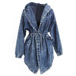 製品の新しい卸し売り偶然の方法特大長いデニムのジーンのジャケットの女性のコートを向く2020熱い販売