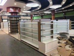 Supermercado metal e vidro prateleira com painel de anúncio