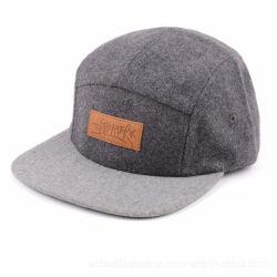 도매 주문 가죽 패치 Winter 5 패널 Wool Hat