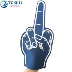 中国メーカーの卸し売り注文 EVA の泡の指は多彩な手を愛する プリントスポーツはチームをごまかす Triumph の手親指の喝采グローブ会う プロモーションギフト用