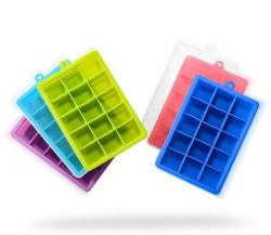 حاويات جليد خالية من مادة BPA، 15 مكعبات مربعة، صينية مكعب ثلج من السيليكون مع غطاء بلاستيكي