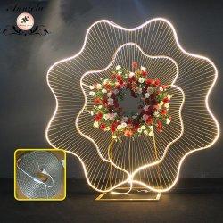 Stade de mariage de toile de fond a conduit l'art d'arche de fer Grand Flower-Stand Decoeation