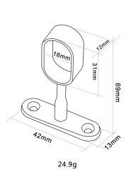 Zentraler ovaler Support Kingliye-F870 für ovale Rod (Chrom, Zink-Legierung)