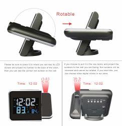 時間の投射および屋内屋外の温度のデジタル目覚し時計