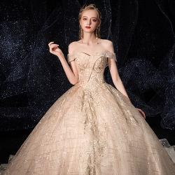 Branco fora de moda Noite Ombro vestido de noiva 2020