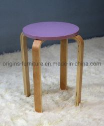La parte superior de madera taburete redondo apilable asiento Comedor