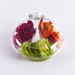 Pet Plstic jetables de haute qualité Salade de fruits avec compartiment de conteneur