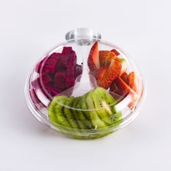 Haustier-Qualität Plstic Wegwerffruchtsalat-Behälter mit Fach