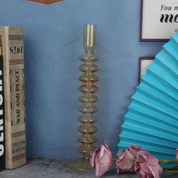 Высшее качество желтый прозрачный цвет стекла на длинной ножке держатель в форме свечи