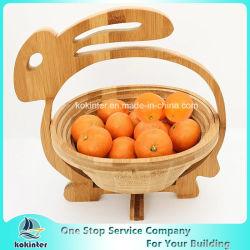 Panier en bois en bambou compressible non-toxique de cueillette de fruit avec le traitement