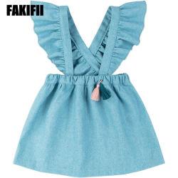 아기 의복 파란 모직 서스펜더 복장 유아 소녀 옷을 입어 중국 도매 아이들