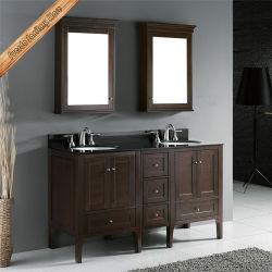 خزانة الحمام بمفروشات من خشب البلوط