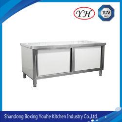工場価格キッチンステンレススチール製スライドドア作業台