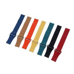 O tirante de ligação de couro para a faixa de relógio Apple 44mm 40mm Iwatch 38mm 42mm bracelete circuito magnético
