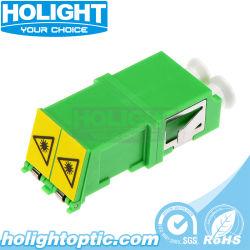 LC/APC duplex do adaptador do Obturador Automático de fibra óptica com alojamento verde