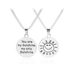 Tú eres mi sol mi único Sol Carta Disco de doble cara una cara sonriente sol grabado de 2017 Colgante Collar inspiradoras de regalos