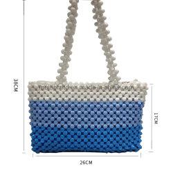 熱い販売のハンドメイドの女性木はハンドバッグのショルダー・バッグのクラッチによって玉を付けられる袋に玉を付ける