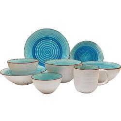 Le grésillement de glaçure bleu océan profond de l'effet de la vaisselle en céramique fixe