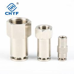 تركيبات Mpcf المعدنية موصل تركيب الأنابيب نحاسي الهوائي Plumating Nickel Plating ادفع التركيبة المعدنية الهوائية المستقيمة أنثى