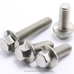 En acier inoxydable 304 316 vis à bride moletée vis à bride hexagonal avec blocage dentelée