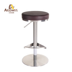 Barre ronde ajustable Revoling meubles fauteuil en cuir de PU et base en acier inoxydable ressort à gaz Tabouret de bar