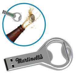 Personifiziertes Metall-USB-Blitz-Laufwerk-Flaschen-Öffner-Bierflasche-Öffner USB-Schlüsselsilber 8g 16GB