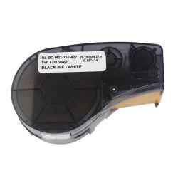 Contrassegno compatibile del nastro della stampante per il nero del nastro 19.1mm di Brady M21-750-427 su nastro bianco del contrassegno del vinile