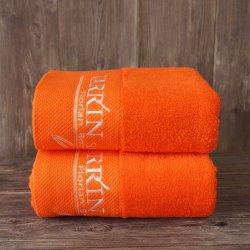 Promotion cadeau personnalisé accueil doux Dobby Orange Serviette de bain en coton