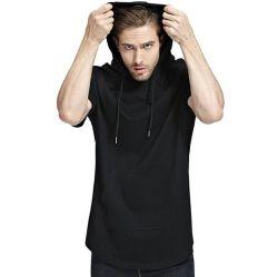 Os homens a luz da Tecidos obtidos a manga curta Suéter Blusa com capuz