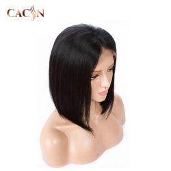 Los cortes cortos indio Natural Remy Cabello ondulado de onda de cuerpo de encaje completo pelucas para las mujeres blancas