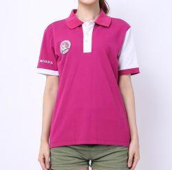 Logotipo Bordado personalizado 100% ALGODÃO PIQUÉ Lady's Polo T shirts uniforme de fábrica